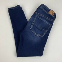 American Eagle Jegging Crop Capri Jeans Women's 2 Long Super Stretch Dark Wash