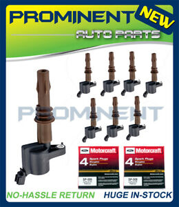 8 Motorcraft SP509 Spark Plugs & Coils DG521 Brown Boot Replacement For Ford