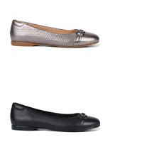 Womens Hush Puppies Waterlily Leather Flats Slip On Black Titanium Work Shoes