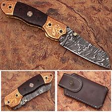 Executive Series ENGRAVED Nesmuk Folding Damascus Knife Rainwood w Solid Copper