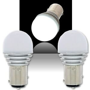 #1157 White LED 12V Park Tail Light Brake Stop Turn Signal Lamp Bulb PAIR 4x6.3