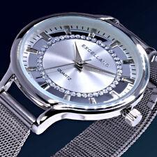 Excellanc Damen Armband Frauen Uhr Mesh Silber Farben Strass M63