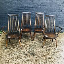 Set Of 4 Vintage Retro Mid Century Ercol Beech & Elm Goldsmith Dining Chairs