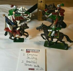 "2 Exquisite French Riders and 2 Thin Jousting knights ~ 2.75""-3.50"" Nice mix"