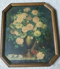 Vintage Victorian Floral Flower Bouquet Print in Antique Glass Picture Frame