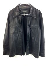 Banana Republic Leather Coat Jacket Womens Large Black Button Front Lined