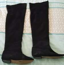 Black Suede Leather Over Knee High Boots Size 7.5 Flat Slip On