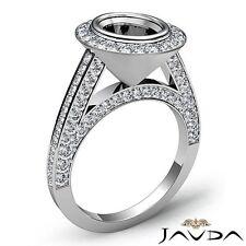 14k White Gold 1.7Ct Oval Diamond Engagement Halo Pave Bezel Set Ring Semi Mount