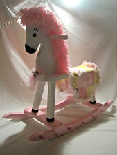 "Painted white and decorated rocking horse for reborn dolls or 16"" dolls and up"