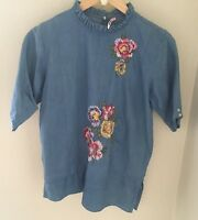 Zara Trafaluc Denimwear Womens Embroidered Top Tunic Flower Patches Size Small
