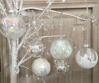 Winter Wonderland Glass Bauble Iridescent Tinsel Filled Gisela Graham White Snow