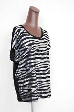 NEW Michael Kors Black Silver Sequin T Shirt Blouse XL Short Sleeve Zebra Stripe