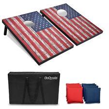 GoSports 3'x2' Foldable American Flag Cornhole Toss Set with Wood Plank Design