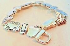 Teacher Link Bracelet Silvertone Magnet Closure