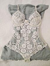 Rare Vintage La Perla White Chantilly Lace Body, La Perla Size 3