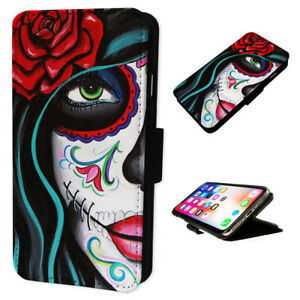 Tattoo Rose Girl Dead - Flip Phone Case Wallet Cover - Fits Iphones & Samsung