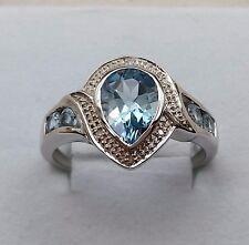 9CT WHITE GOLD LARGE TEAR DROP  BLUE TOPAZ AND DIAMOND DRESS RING SIZE U.
