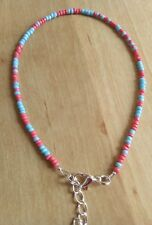 beautiful blue and peach coral bead anklet/ankle bracelet