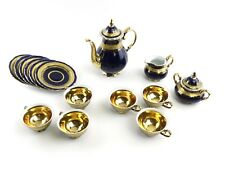 6 pc KPM Royal Berlin Porcelain Tea Set Flowers Cobalt Teapot Cups Saucers MINT!