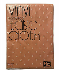 """New Vtg KC Micro Floral Vinyl Flannel Back Oblong Tablecloth 52""""x70"""" Made In USA"""