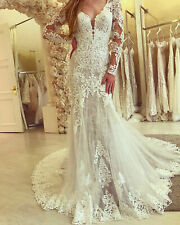 Mermaid Lace Appliques Wedding Dresses V Neck Long Sleeve Tulle Backless Gown
