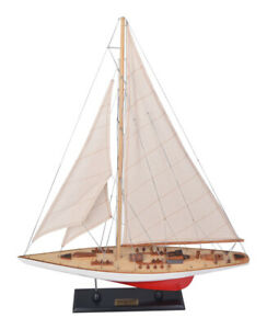 Authentic Models 1934 Endeavour J Class Red/White Racing Yacht Sailing Boat 61cm