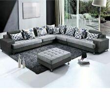 Divano angolare 325x250 pouf in microfibra moderno grigio soggiorno divani|123