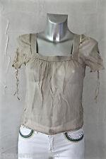 MAJE  - joli haut top tee shirt en soie kaki taille 2 36/38