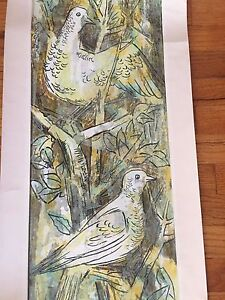 GUY MACCOY Modern Art Color Silkscreen ~Yellow Birds ~ Pencil Signed ~ as is