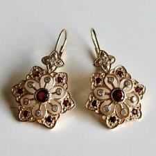 Snowflake 14k Gold, Garnet and Diamond Earrings: Museum of Jewelry