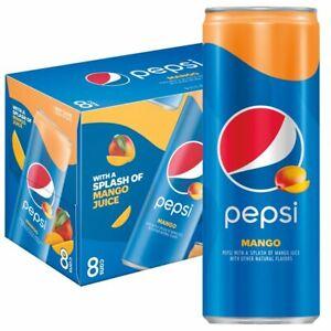 Pepsi Soda, Mango, 12 Fl Oz, 355ml, 8 Cans, American Imported-Brand New