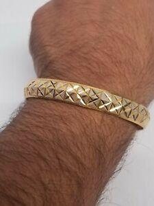 Two Tone Silver Gold Plated XX Cross Design Hindu Sikh Singh Kaur Kara Bangle U4
