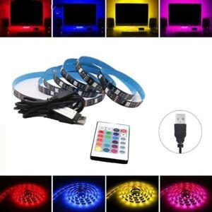 5V USB 2M LED Strip Lights TV Backlight 5050 RGB Colour Changing+ 24K Remote