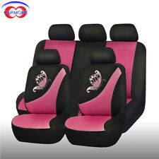 11pcs Universal Car Seat Covers Polyester Butterfly Embroidery Black & Pink