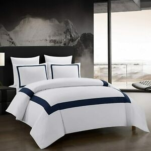"""Hotel Collection - White & Navy Blue Quality Duvet Cover Set - King - 94""""x87"""""""