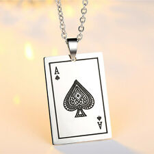 Ace of spade Stainless steel pendant Cool Punk Womens Mens chain long necklace