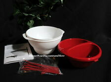 Tupperware NEW Chic Microwave Dining Deli Dipper Dip Bowl Set Forks Red & White