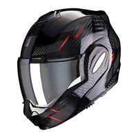 Casco Moto Modulare Scorpion Exo-Tech Pulse nero lucido rosso taglia M