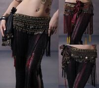 Belly Dance Hip Scarf Tribal Fringe Tassel Belt&Copper Coins Costume Fancy belt