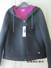 NEW M&S ACTIVE WEAR BLACK HOODED JACKET SIZE 14