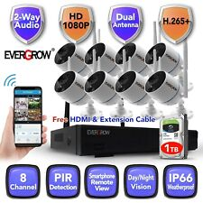 Wireless 2 Way audio Home Security 1080P Cctv Camera Outdoor System Dvr kit