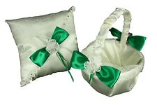 IVORY Wedding Basket & Ring Pillow SET Sisal Mesh Design Satin Bow