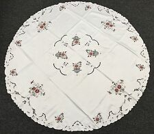 "Elegant Linen Embroidered Floral Embroidery Tablecloth 72"" Round & 12 Napkins"