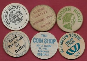 6 Misc Wooden Nickels