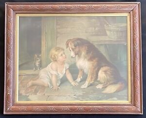 Antique Framed Can't You Talk Chromolithograph Print George Augustus Holmes