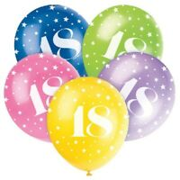 """5 X AGE 18 HELIUM QUALITY 12"""" LATEX BALLOONS PARTY DECORATION MIX 18th BIRTHDAY"""