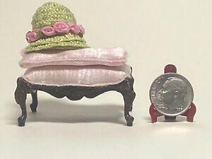 Vintage Artisan Spring Roses Hat & Bespaq Carved Bench 1:12 Dollhouse Miniature