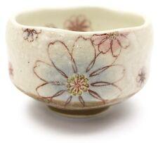 Chawan Matcha Japanese green tea bowl Kyo Kiyomizu yaki blue flower from japan