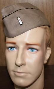 WWII US ARMY 1st LT. KHAKI WOOL GARRISON OVERSEAS CAP  DATED 1942 I'd SIZE 7 1/4