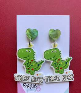 Christmas Dinosaur Dangle Earrings, Tree Rex, Surgical Steel Stud, Heart Acrylic